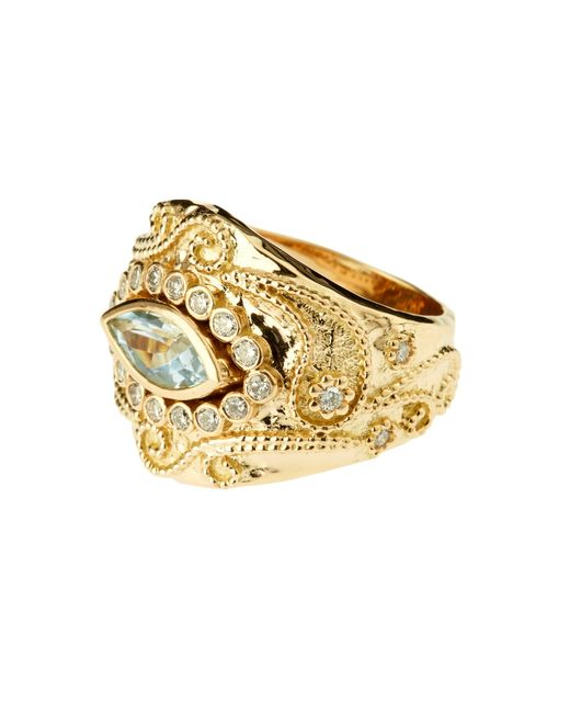 Aurelie Bidermann   Cashmere Aqua Marina And Diamonds Yellow-gold Ring   Lyst