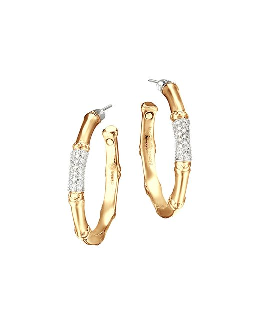 John Hardy | Metallic Bamboo 18k Gold And Diamond Pave Medium Hoop Earrings | Lyst