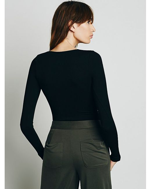 Free People | Black Lace-Up Seamless-Knit Top | Lyst
