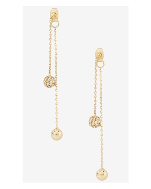 Express | Metallic Fireball And Metal Bead Dangle Earrings | Lyst