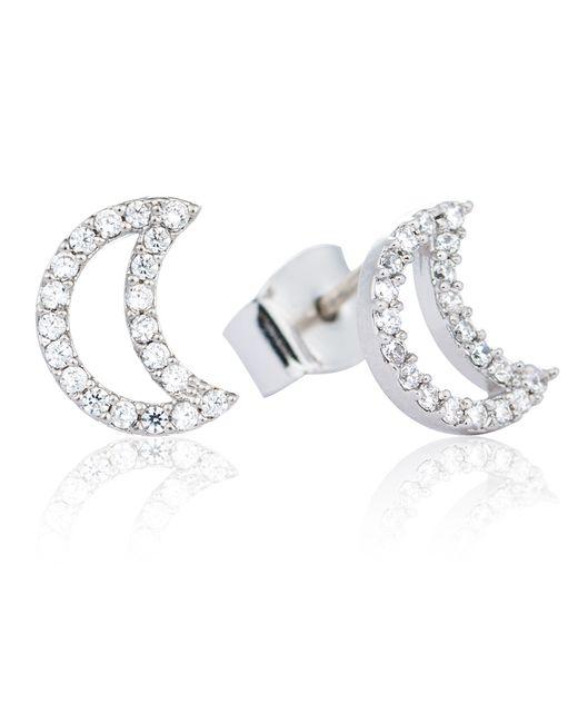 Astrid & Miyu | Metallic Tricks Moon Stud Earrings Silver | Lyst