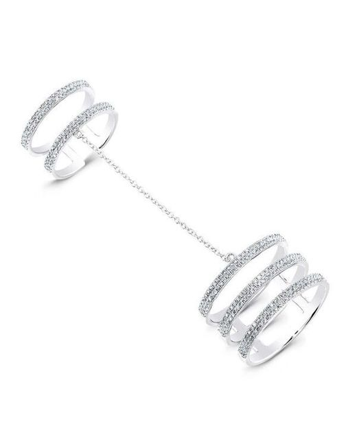 Anne Sisteron | Metallic 14kt White Gold Diamond Bars Chain Ring | Lyst