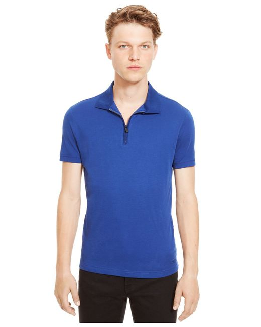 Kenneth Cole Reaction | Blue Quarter-zip Polo for Men | Lyst