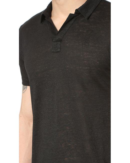 Vince Linen Short Sleeve Polo Shirt in Black for Men ...