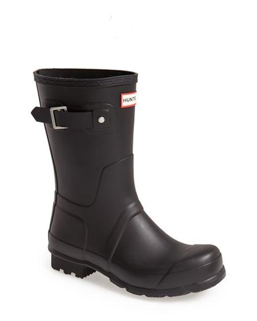 Hunter | Black 'original Short' Rain Boot for Men | Lyst