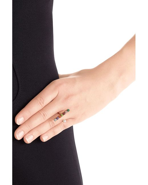 Delfina Delettrez | Metallic 9kt Gold Ring With Topaz, Peridot And Pearl - Multicolor | Lyst