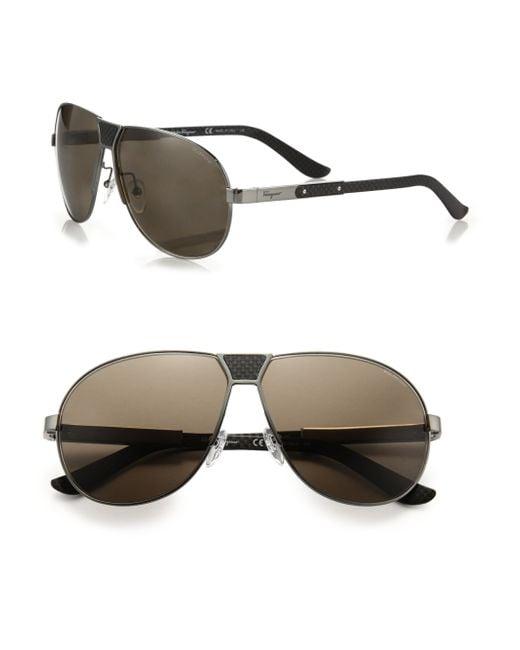 Ferragamo | Black Pilot 61mm Carbon Fiber Sunglasses for Men | Lyst