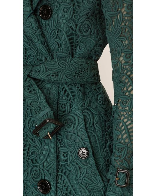 Burberry Macram 233 Lace Trench Coat In Green Deep Bottle