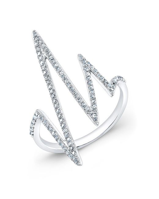 Anne Sisteron | Metallic 14kt White Gold Diamond Heartbeat Ring | Lyst