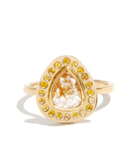 Melissa Joy Manning | Metallic 1 Carat Rutilated Diamond Ring With Yellow Diamond Halo | Lyst