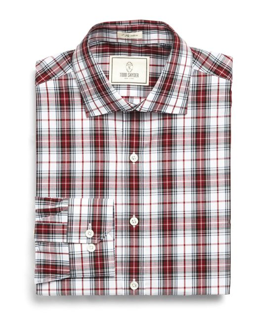 Todd Snyder Dress Shirt In Burgundy Plaid In Purple For