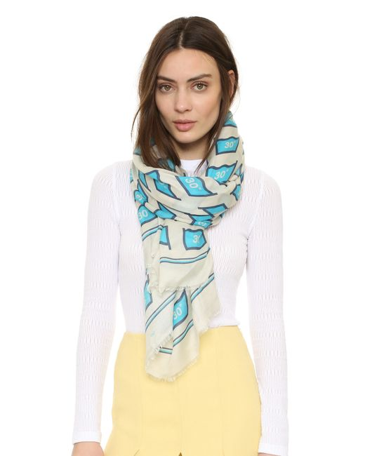 anya hindmarch washing scarf in white chalk save 60