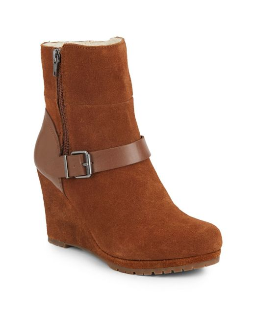 dolce vita pyston suede wedge ankle boots in brown rust