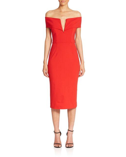 Nicholas   Red N / Ponte Shoulder Band V Dress   Lyst