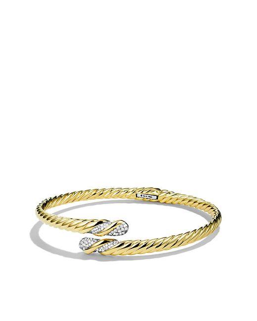 David Yurman | Metallic Willow Open Single-row Bracelet With Diamonds In Gold | Lyst