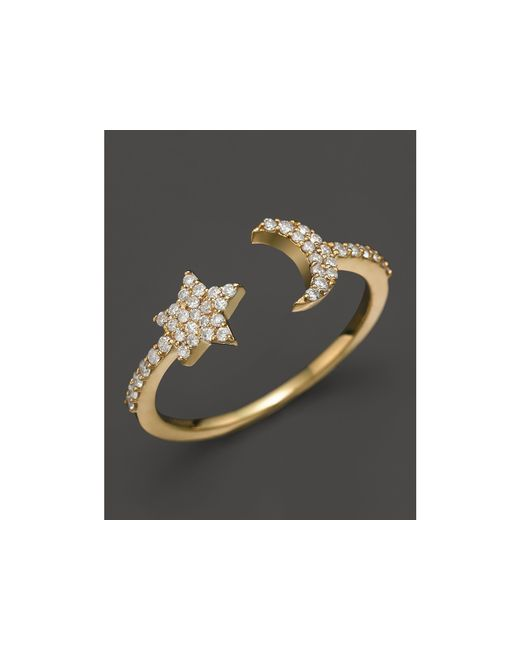 Meira T | Metallic 14k Yellow Gold Moon & Star Ring With Diamonds | Lyst