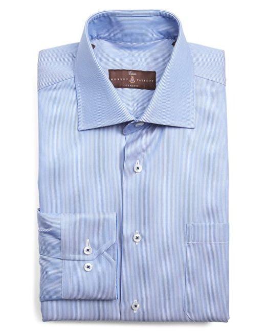 Robert talbott classic fit stripe dress shirt in blue for for Robert talbott shirts sale
