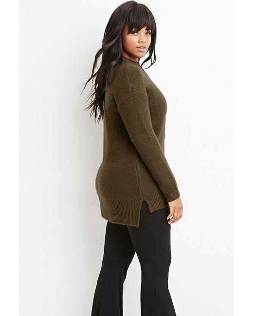 Forever 21 | Green Plus Size Longline Fuzzy Sweater | Lyst