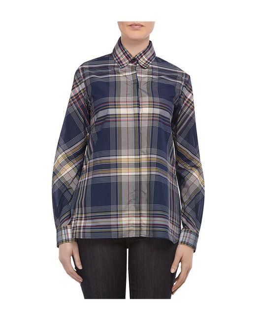 Rosetta getty madras voile blue plaid shirt in blue navy for Navy blue plaid shirt