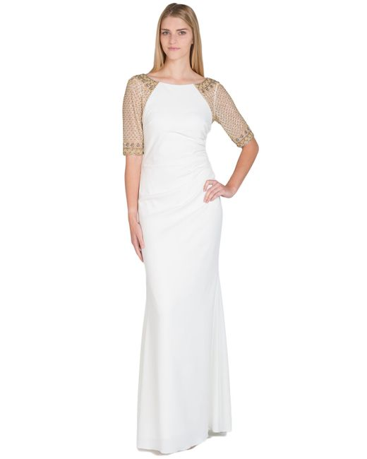 Badgley Mischka | White Raglan Beaded Sleeve Evening Gown | Lyst