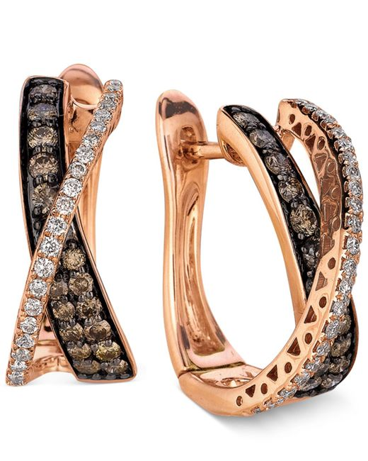 Le Vian | Brown Diamond Chocolate Diamond And White Diamond Crisscross Hoop (1 Ct. T.w.) In 14k Rose Gold | Lyst