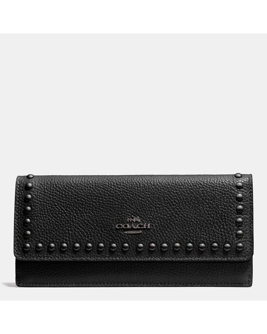 COACH | Black Soft Wallet In Lacquer Rivets Pebble Leather | Lyst