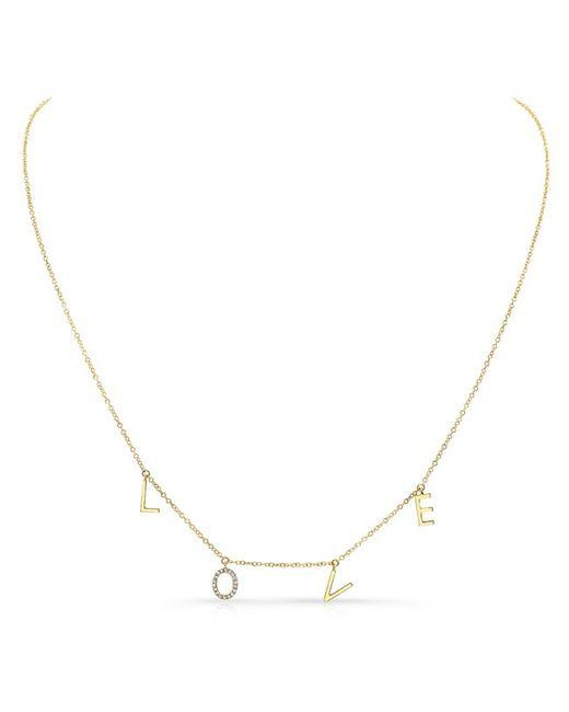 Anne Sisteron - Metallic 14kt Yellow Gold Love Necklace -diamond O - Lyst