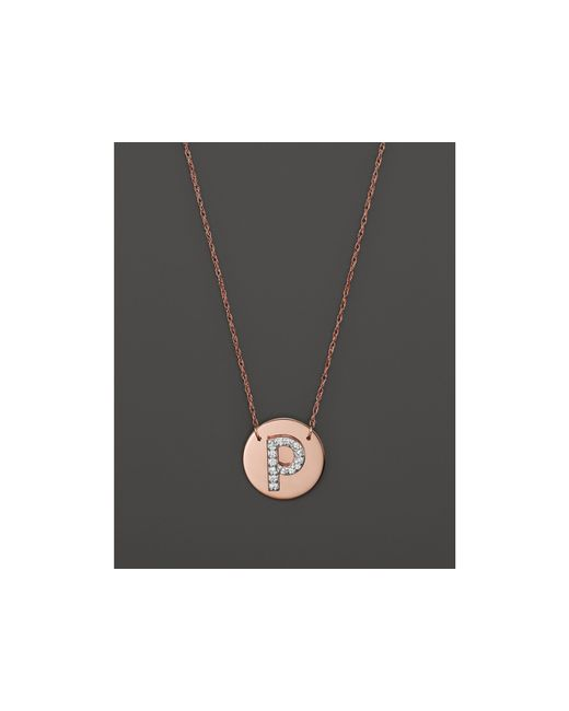 Jane Basch | Metallic 14k Rose Gold Circle Disc Pendant Necklace With Diamond Initial, 16"