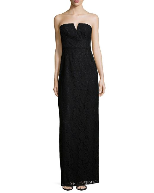 Donna Morgan | Black Reese Strapless Lace Column Gown | Lyst