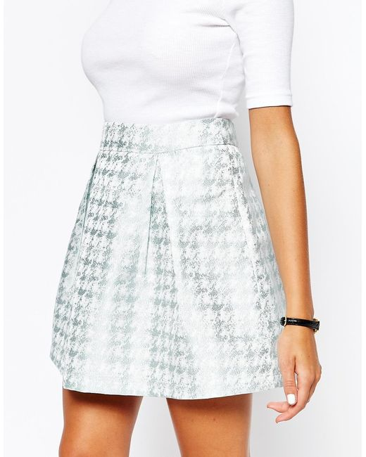 fashion union jacquard pleated skirt in green mint lyst