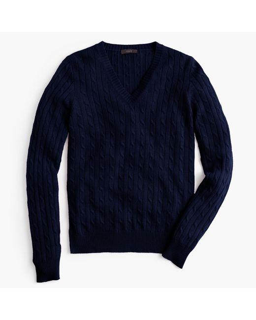 J.Crew   Blue Cambridge Cable V-neck Sweater   Lyst