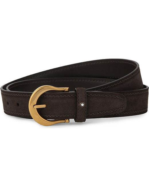 montblanc buckled leather belt in black for lyst