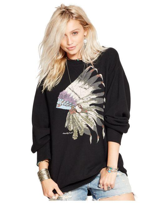 Denim & Supply Ralph Lauren   Black Drapey Graphic Sweatshirt   Lyst