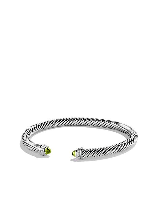 David Yurman | Metallic Cable Classics Bracelet With Peridot And Diamonds, 5mm | Lyst