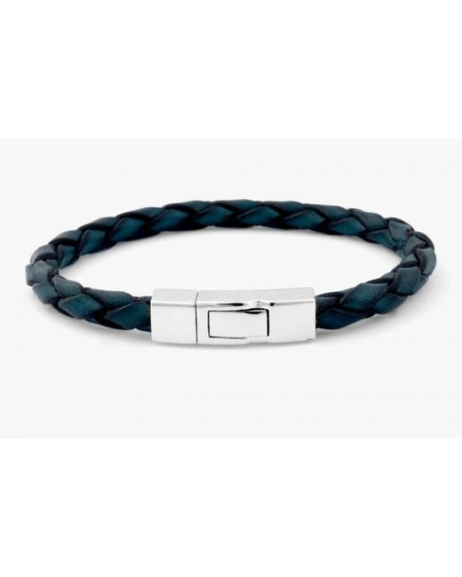 Tateossian | Single Wrap Scoubidou Blue Leather Bracelet With Silver Clasp for Men | Lyst