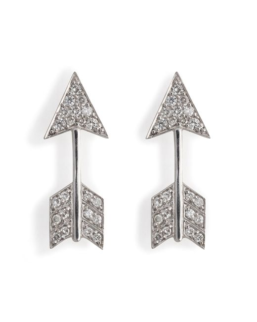 Anita Ko | 18kt White Gold Arrow Earrings With Diamonds | Lyst