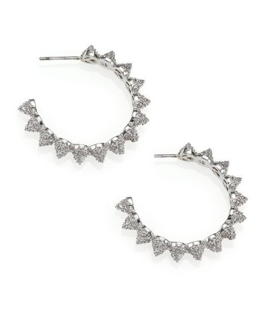 Eddie Borgo | Metallic Mini Pave Cone Hoop Earrings | Lyst