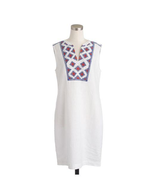 J.Crew | White Sleeveless Embroidered Sunburst Dress | Lyst