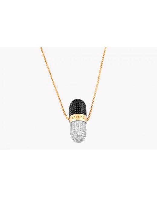 Tateossian | Pill Collection - Diamond Micro Pavé Necklace With Black And White Diamonds And 18k Gold Chain for Men | Lyst