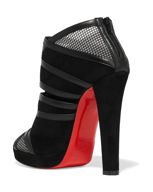 Christian louboutin Commandanta 120 Leather And Mesh-trimmed Suede ...