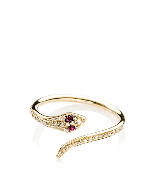 EF Collection | Yellow 14k Diamond Ruby Snake Ring | Lyst
