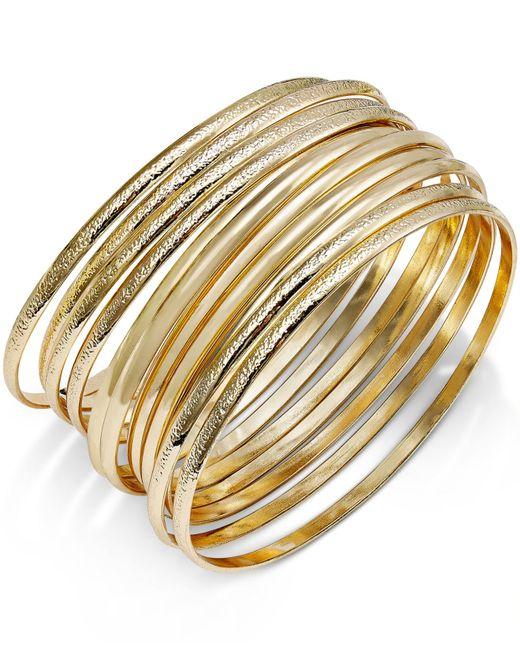 INC International Concepts   Metallic Gold-tone Textured Bangle Bracelet Set   Lyst