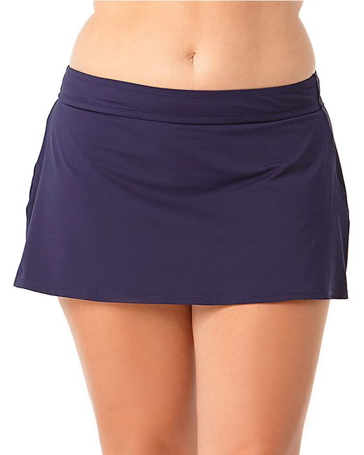 cole plus solid swim skirt in blue navy blue