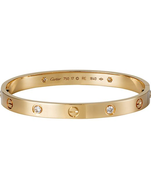 Cartier | Metallic Love 18ct Pink-gold And Diamond Bracelet | Lyst