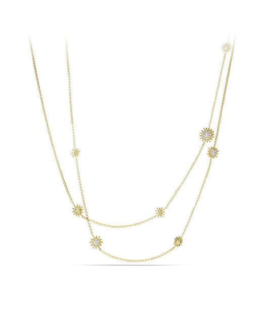 David Yurman | Metallic Starburst Station Necklace With Diamonds In 18k Gold | Lyst