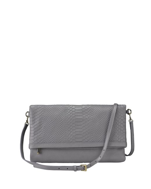 Gigi New York | Gray Carly Python-embossed Leather Convertible Clutch | Lyst