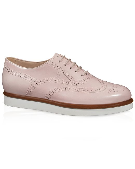 tod s leather lace up shoes in white pink lyst