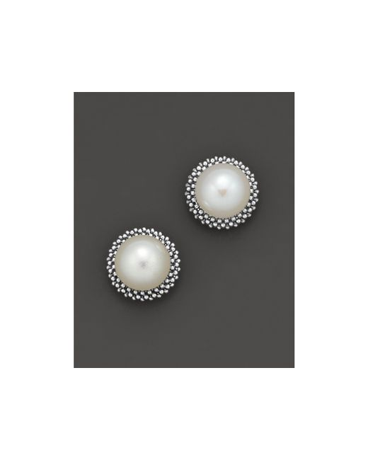 "Lagos | White Sterling Silver ""luna"" Pearl Stud Earrings 