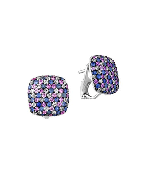 Effy | Blue 925 Sterling Silver And Tricolor Sapphire Button Earrings | Lyst