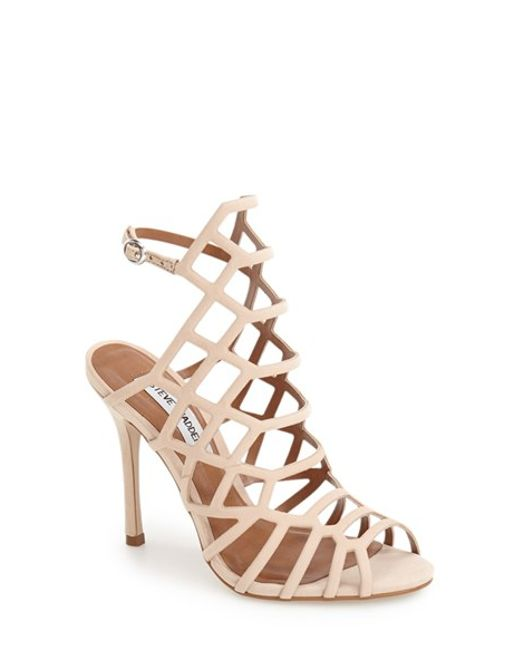 Steve Madden | Pink Slithur Caged Leather Sandals | Lyst